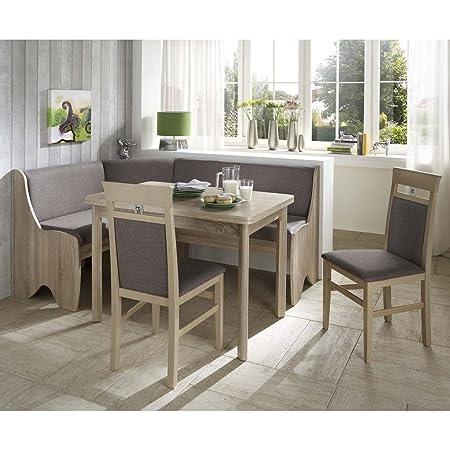 Eckbank Eckbankgruppe Essgruppe BIBIONE Essecke Tisch 2 Stuhle Sonoma Eiche