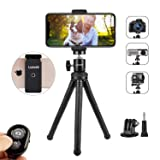 Phone Tripod, LUSVEK Portable and Adjustable Cell Phone Tripod with Remote Shutter, Universal Clip and Gopro Adapter Compatible with iPhone, Android P