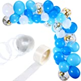 Tatuo 112 Pieces Balloon Garland Kit Balloon Arch Garland for Wedding Birthday Party Decorations (White Blue) (Color: White Blue)
