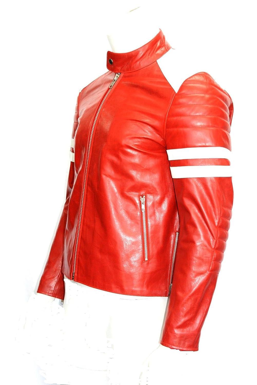 Mayhem Rot mit weißen Streifen Film / Film Lederjacken in allen Größen online kaufen