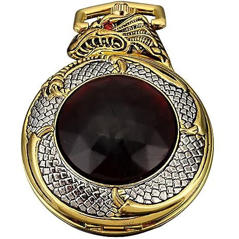 AMPM24 Mens Golden Dragon Dangle Pendant Pocket Quartz Watch + Gift Chain
