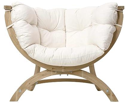 Amazonas AZ-2030900 - Amazonas AZ-2030900 - Sillón de madera de pícea de 118,5 cm de anchura y tapizado, color blanco color Blanco