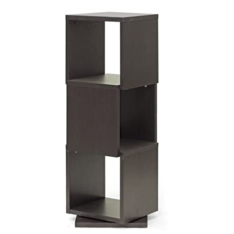 Baxton Studio Ogden 3-Level Rotating Modern Bookshelf, Dark Brown