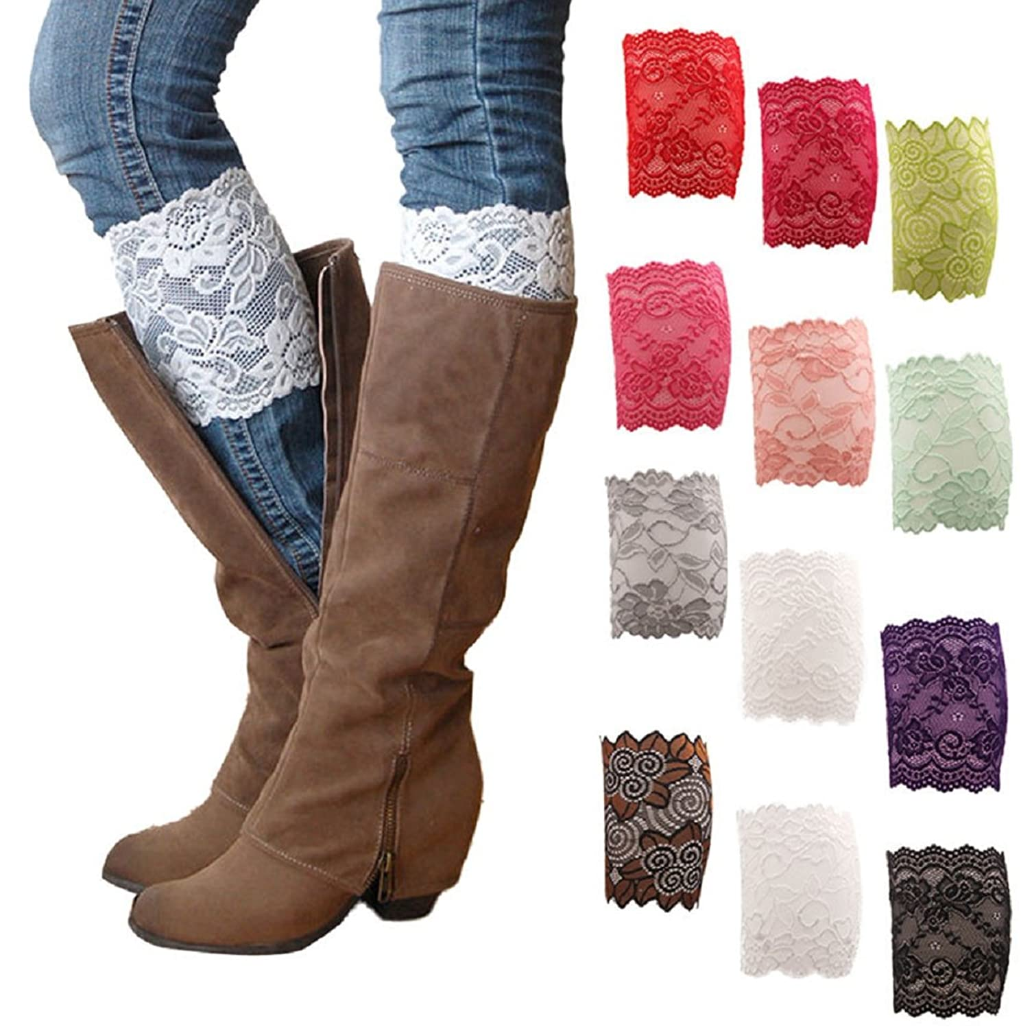 HP95(TM) Womens Stretch Boot Leg Cuffs Soft Leg Warmer Boot Socks