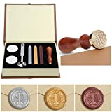 Wax Seal Stamp Kit,Mingting Vintage Wax Stamp Seal Kit Initial Letters Alphabet (T) (Color: T)
