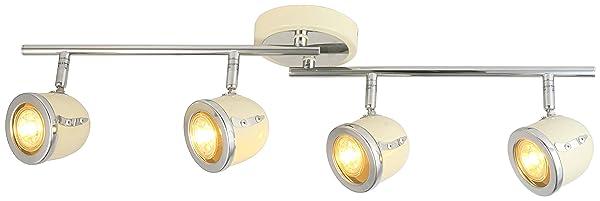 LED Retro Adjustable Eyeball Black &Chrome Ceiling Spotlight (Beige & Chrome, 4 Lights) (Color: Beige & Chrome, Tamaño: 4 Lights)