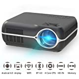 Home Video Projector,Portable Android 6.0 Wireless Home Theater Projector 4200 Lumens WXGA Resolution Support Full HD 1080P Movie Video Games with WIFI HDMI USB VGA AV Audio Out (Color: Black, Tamaño: Android Smart Version)