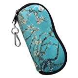 Fintie Eyeglasses Case with Carabiner Hook, Ultra Light Portable Anti-scratch Soft Travel Bag Dust-proof Neoprene Zipper Sunglasses Sleeve Pouch, Blossom