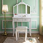Tribesigns Wood Makeup Vanity Table Set with 3 Mirror and Stool Bedroom Dressing Table Dresser Desk, White