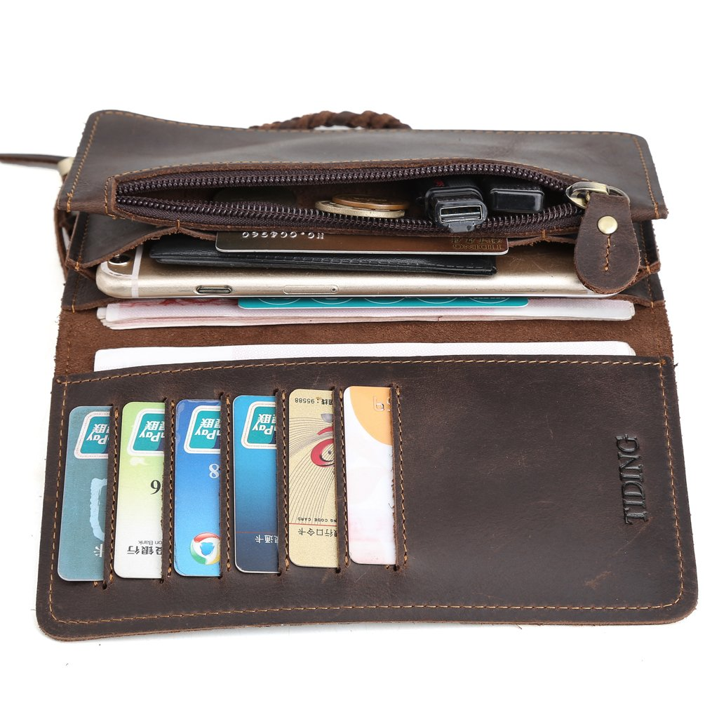 Tiding Men's Brown Crazy Horse Leather Wallet Vintage Style Card Holder Bifold 33777 3