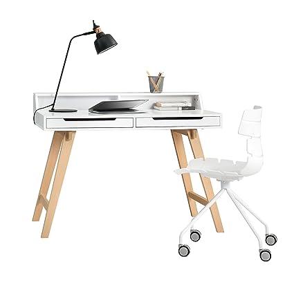 [en.casa] Rétro bureau + Chaise Blanc Table pour ordinateur Table Console Design