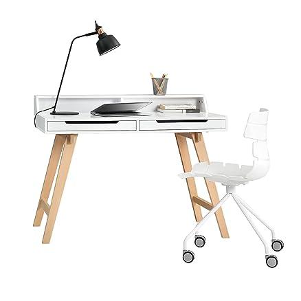 [en.casa] Scrivania retro con sedia da ufficio - bianco- tavolo per il computer / console / sedia girevole con ruote