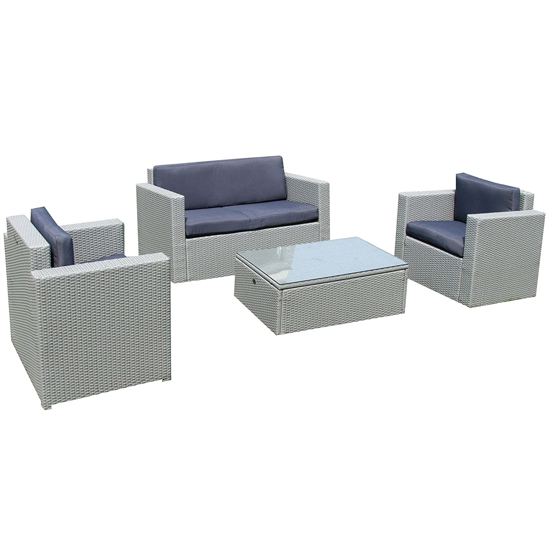 Gartenset Gartenmöbel Lounge Sitzgruppe Cannes silber aus Polyrattan Rattan Gartenausstattung von Jet-Line günstig online kaufen