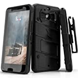 Zizo Bolt Series Compatible with HTC Bolt with [Screen Protector] Kickstand [Military Grade Drop Tested] Holster Belt Clip (Black/Black) (Color: Black/Black)