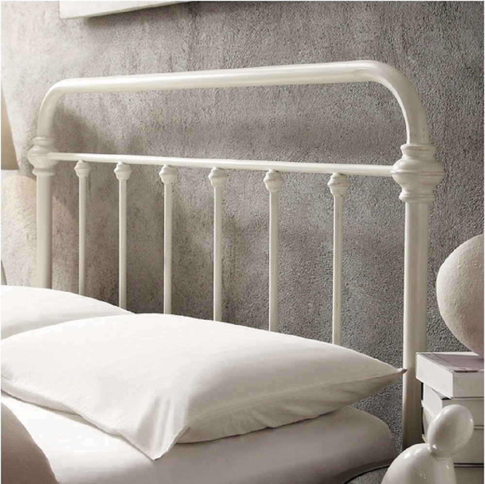 Giselle Antique White Graceful Lines Victorian Iron Metal Bed - Full Size 5