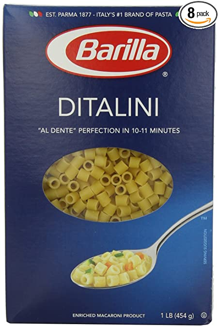 Barilla Pasta, Ditalini, 16 Ounce (Pack of 8)