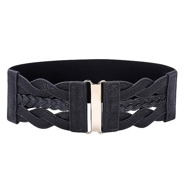 Vintage Leather Elastic Waist Belt Fashion Wide Belts for Women (Black, L) (Color: Black, Tamaño: Large)