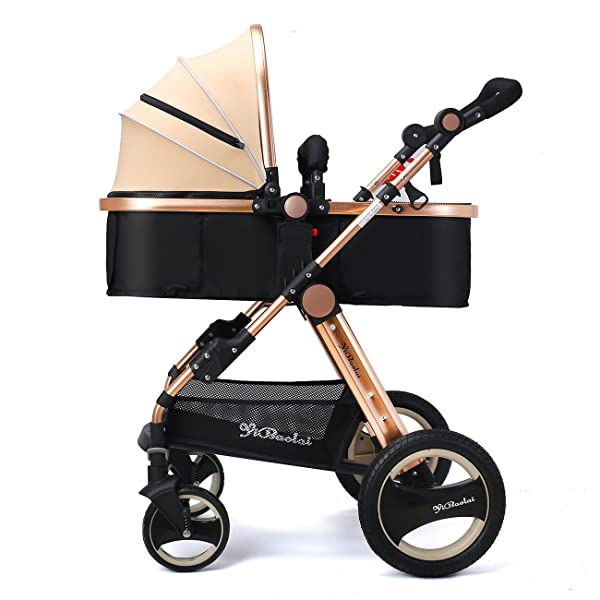 YBL Lightweight Four Rounds Urban Baby Strollers Folding Newborn and Toddler girls boy Baby Carriage Pink