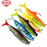 Proberos Soft Shad Swimbait Silicone Fishing Lures Rigged Anchovy Soft Bass Swim Bait Tackle 5PCS/LOT (6051) (Color: 6051)