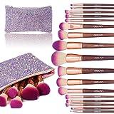 Makeup Brush Set, Diolan 17PCs Professional Makeup Brushes for Foundation Blending Blush Concealer Eye Shadow, Synthetic Fiber Bristles & Wooden Handle, Travel Makeup Bag Included, Glitter Purple (Color: Purple)
