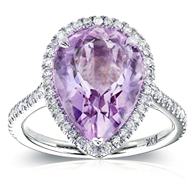 Pear-Shape Lavender Amethyst and Diamond Engagement Ring 4 5/8 Carat (ctw) in 10k White Gold