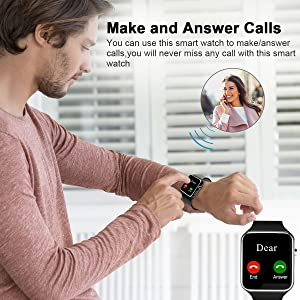 Smart Watch,Bluetooth Smart Watch Touch Screen Smartwatch Sport Smart Fitness Tracker Wrist Watch with SIM Card Slot Camera Pedometer for iOS iPhone Android Samsung Smartphones for Men Women Black (Color: Black)