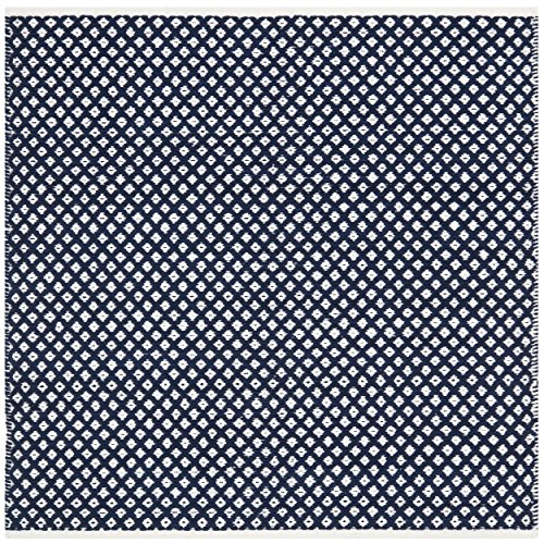 Safavieh Boston Collection BOS685D Handmade Navy Cotton Square Area Rug, 4 feet Square (4' Square)