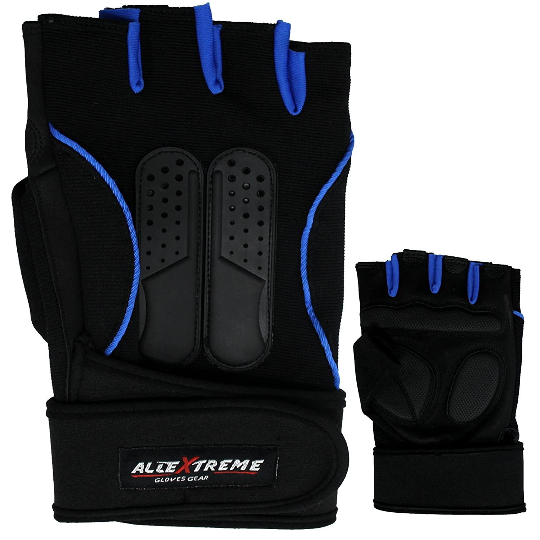 MRK Leather Weight Lifting Gloves Gym Long Wrist Straps Training Bodybuilding B