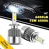 H7 Led Headlight Bulbs, Wediamond Car LED Headlight Lamp CREE Bulbs Conversion Kits 72W, 6400Lumen, 6500 white Cree, Waterproof IP67 for Cars Replacement 2 Pcs(1 Pair)- 2  Year Warranty