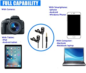 Lavalier Lapel Microphone -oulin's Omnidirectional Condenser Clip-on Mic Compatible iPhone iPad Mac Android Smartphones, Youtube, Interview, Studio, V