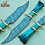 NoonKnives: Hand Made Damascus Steel Collectible Bowie Knife Handle Camel Bone (Blue) (Color: Blue)