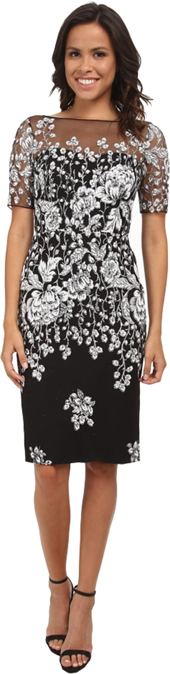 Badgley Mischka Women's Floral Cracked Ice On Tulle Cocktail