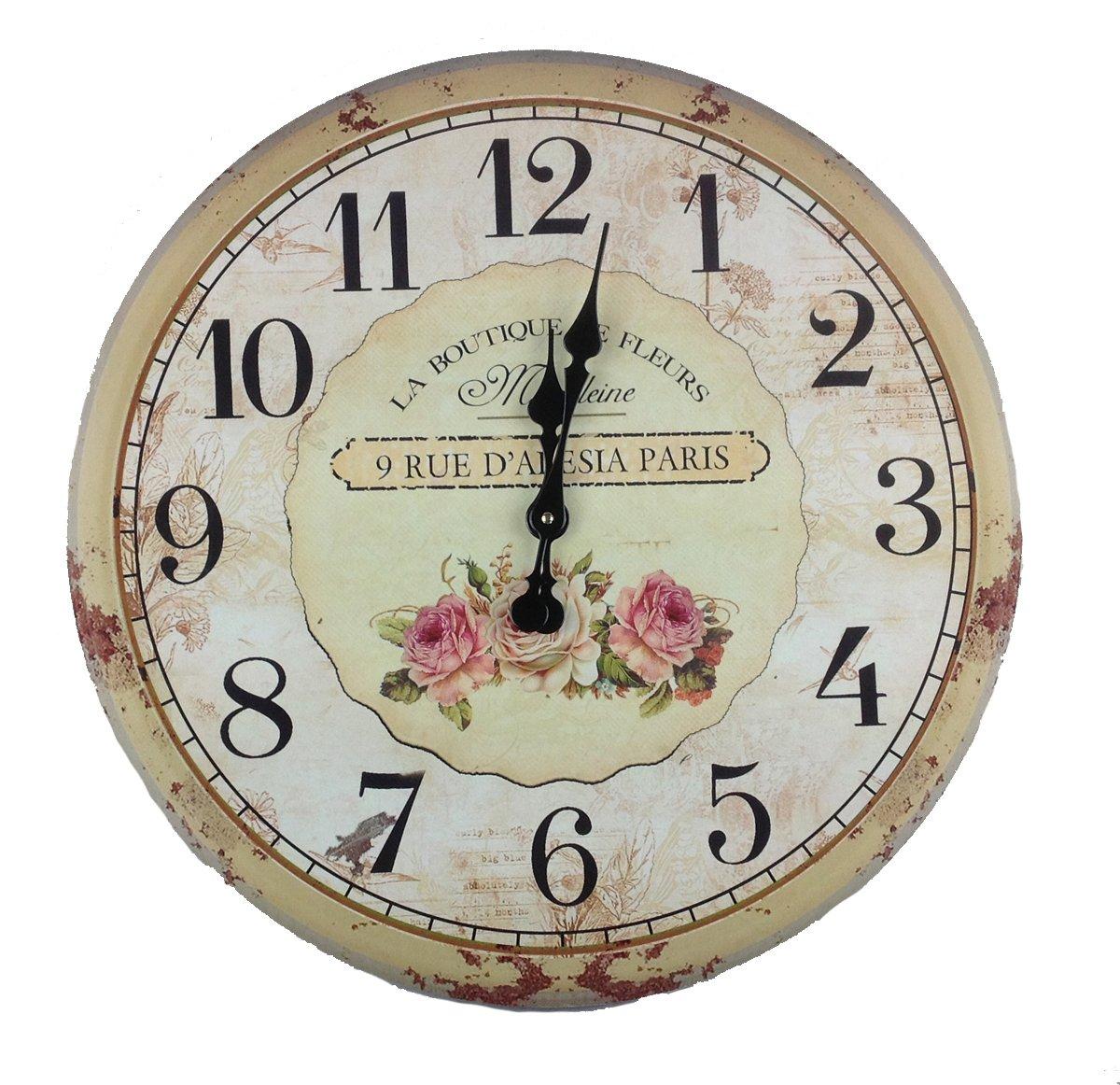 Orologio da parete orologio in legno 60 cm casa di for Orologio legno amazon