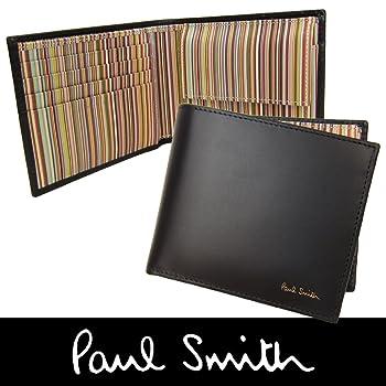 Paul Smith メンズ 牛革 カーフレザー 二つ折り財布 小銭入れ付き 黒×マルチストライプ (140) [並行輸入品]