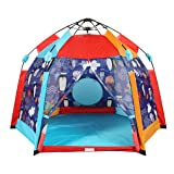 UTEX Automatic Instant 6 Kids Play Tent for Indoor/ Outdoor Fun,Kids Beach Tent Sun Shelter with Zippered Mesh Front, Camping Playhouse Indoor Playground, 66