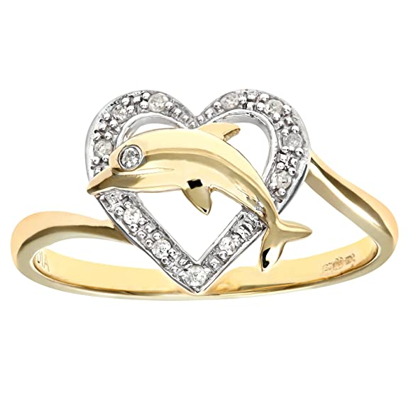 Naava 9ct Yellow Gold Diamond Dolphin Heart Ring
