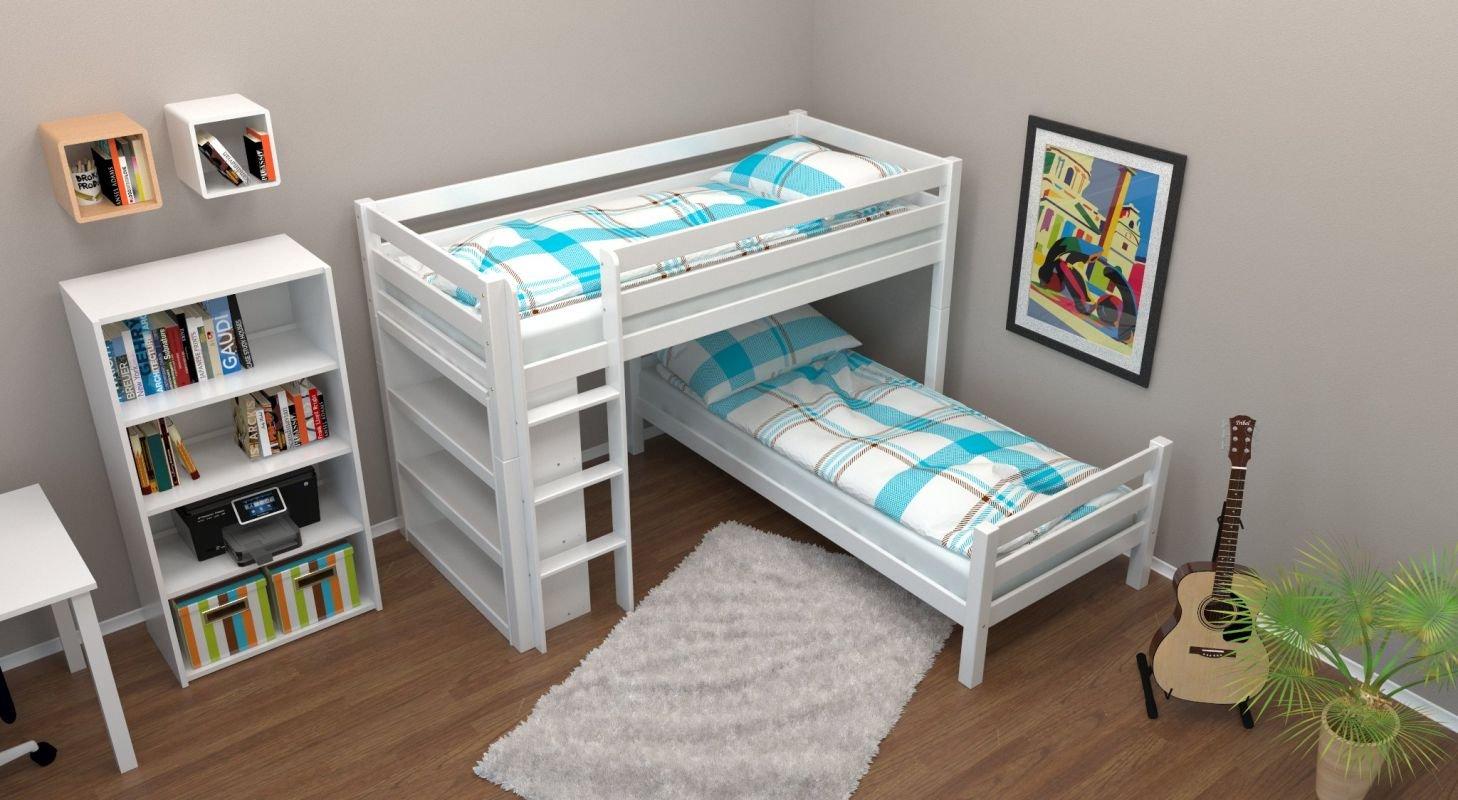 Etagenbett / Spielbett Phillip Buche massiv weiß lackiert mit Regal, inkl. Rollrost – 90 x 200 cm online kaufen