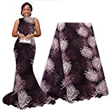 pqdaysun African Lace Fabric Swiss 5 Yards 2019 Nigerian Lace French Beaded Tulle Fabric Wax Fabric for Wedding Party (Color: purple, Tamaño: 5 yards)