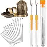 Sewing Tool kit, 2 Pieces Sewing Thimble Finger Protector Copper Adjustable Finger Protector and 2 Pieces Seam Stitch Rippers and 15 Pieces Large-Eye Yarn Knitting Needles