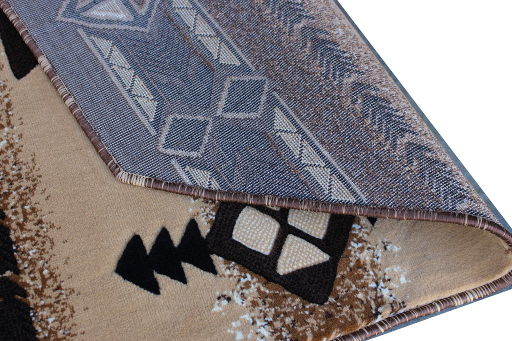 South West Native American Octagon Area Rug Design C318 Berber (4 Feet X 4 Feet) Octagon