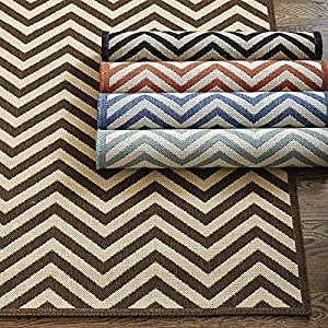 Amazon Chevron Stripe Indoor Outdoor Rug Black