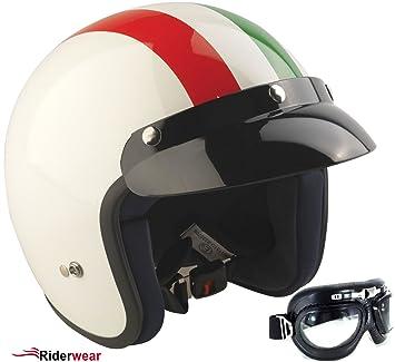 Casque moto Viper Rs-04 italien Casques Jet + lunettes (XL)