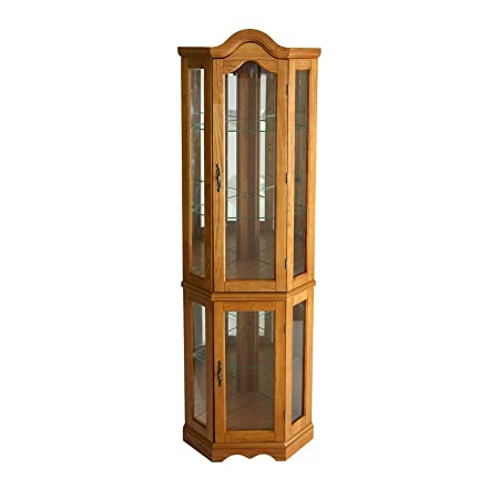 Southern Enterprises Lighted Corner Display Cabinet, Golden Oak