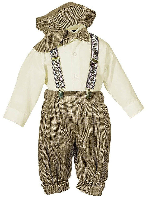 Vintage Dress Suit-Bowtie,Suspenders,Knickers Outfit Set-Boys Brown Plaid 2015 new arrive super league christmas outfit pajamas for boys kids children suit st 004