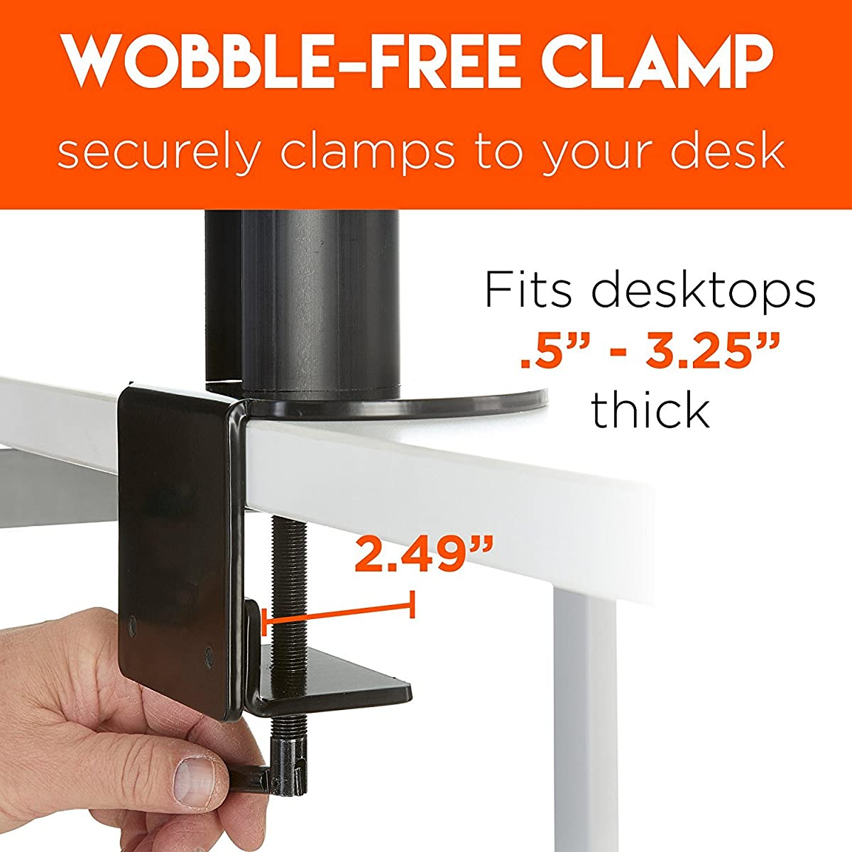 """ECHOGEAR Triple Monitor Desk Mount Stand For Screens Up To 27"""" - Height-Adjustable For Comfortable Gaming & Work - Works With 3 Vertical Or Horizontal Monitors - Perfect For Array-Style Gaming"""