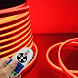 IEKOV LED NEON Light, Trade; AC 110-120V Flexible LED Neon Strip Lights, 120 LEDs/M, Dimmable, Waterproof 2835 SMD LED Rope Light + Remote Controller for Party Decoration (32.8ft/10m, Red) (Color: Red, Tamaño: 10m/32.8ft)