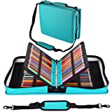 Shulaner 216 Slots PU Leather Colored Pencil Case Organizer Large Capacity Carrying Bag for Prismacolor Watercolor Pencils, Crayola Colored Pencils, Marco Pens, Gel Pens (Lake Blue, 216) (Color: Lake Blue, Tamaño: 216)