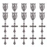 PandaHall Elite 10 Sets Tibetan Style Rosary Cross and Center Miraculous Medal with Alloy Crucifix Cross Pendants and Oval Chandelier Links for Rosary Holy Beads Necklace Making Antique Silver (Color: Antique Silver-10 Sets 4, Tamaño: Pendant - 33.5x20.5x2.5mm)