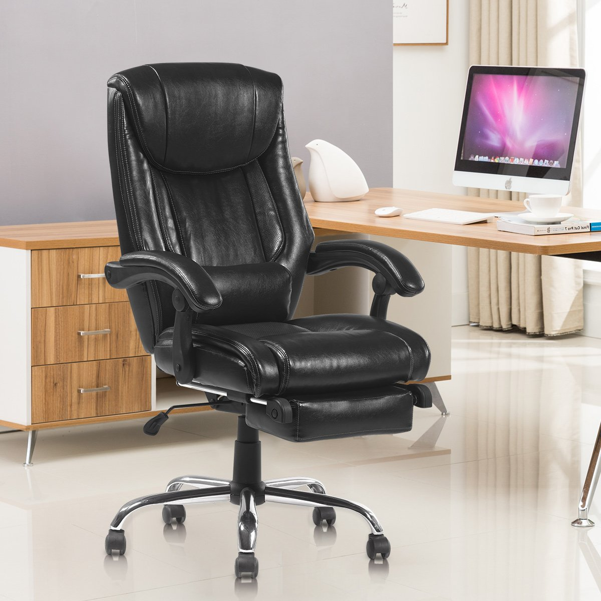 YAMASORO Reclining Office Chair High Back ,Ergonomic Design Computer Napping  Chair Leather With Footrest Thick Padding ...