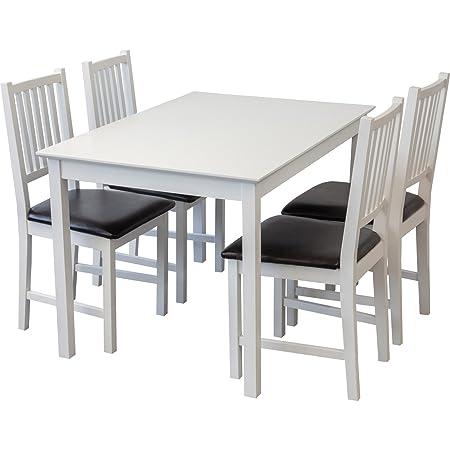 Tischgruppe LUCCA Tisch 120 x 80cm + 4 Stuhle weiss massiv